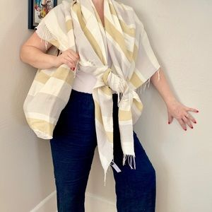 Eileen Fisher Linen tote bag wrap set Ivory Beige